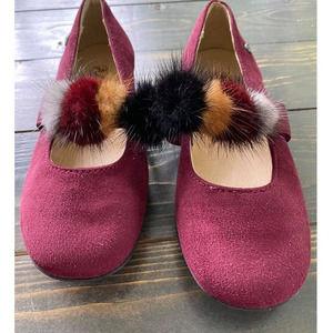 Naturino Girl's Faux Fur Pom Pom Slip-On Size 12